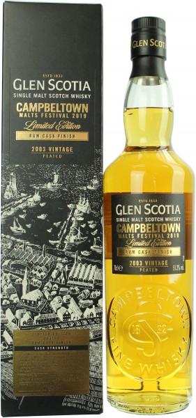 Glen Scotia 15 Jahre 2003/2019 Peated Rum Cask Finish Campbeltown Malts Festival 51.3% 0,7l
