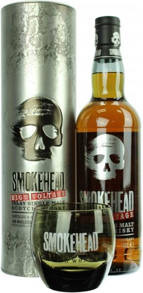 Smokehead High Voltage mit Smokehead Tumbler 58.0% 0,7l