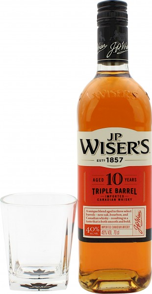 J.P. Wiser's 10 Jahre (Kanada) Geschenkset mit Glas