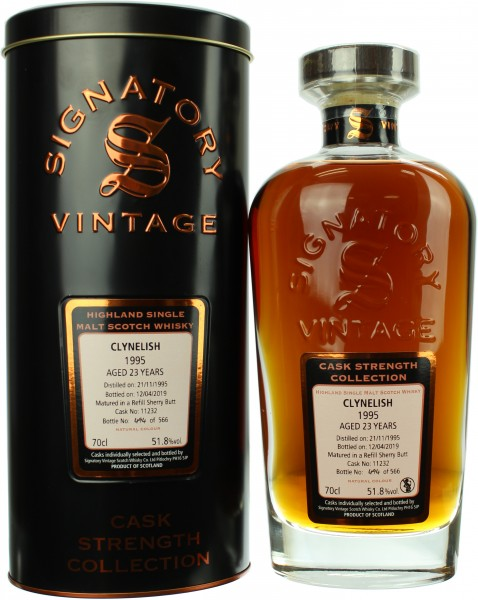 Clynelish 23 Jahre 1995/2019 Signatory Cask Strength 51.8% 0,7l