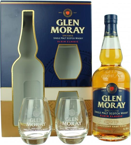 Glen Moray Chardonnay Cask Finish Geschenkset mit 2 Tumblern 40.0% 0,7l