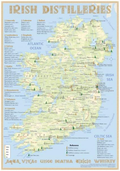 Tasting Map - Irish Distilleries 24x34 cm