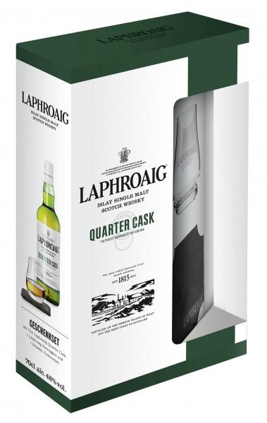 Laphroaig Quarter Cask Geschenkset mit einem Tumbler und Untersetzer 48.0% 0,7l