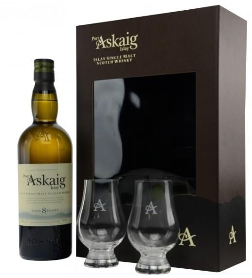 Port Askaig 8 Jahre Geschenkset mit 2 Glencairn Gläser