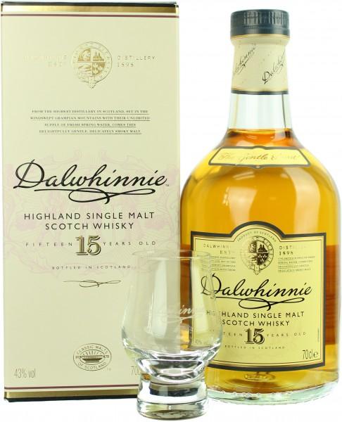 Dalwhinnie 15 Jahre mit einem Shotglas 43.0% 0,7l