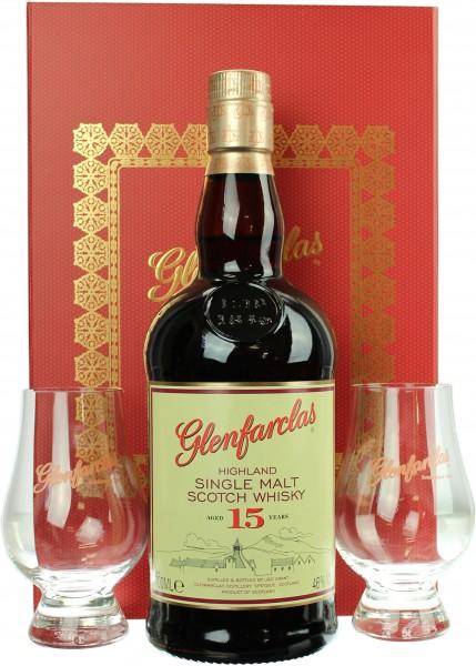 Glenfarclas 15 Jahre Geschenkset mit 2 Glencairn Gläser 46.0% 0,7l