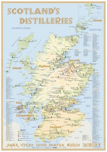 Tasting Map - Scotland's Distilleries 24x34 cm
