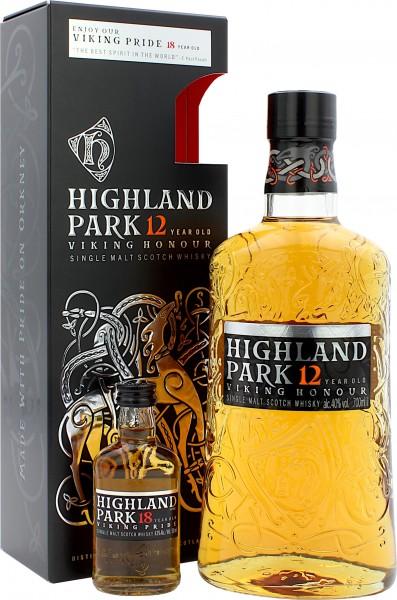 Highland Park 12 Jahre Geschenkset mit Miniatur Highland Park 18 Jahre