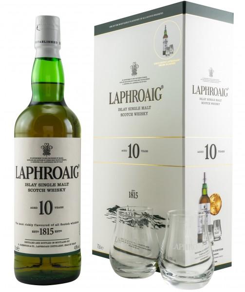 Laphroaig 10 Jahre mit zwei Tumblern 40.0% 0,7l