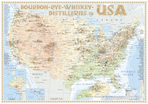 Tasting Map - Bourbon - Rye - Whiskey Distilleries in USA 24x34 cm
