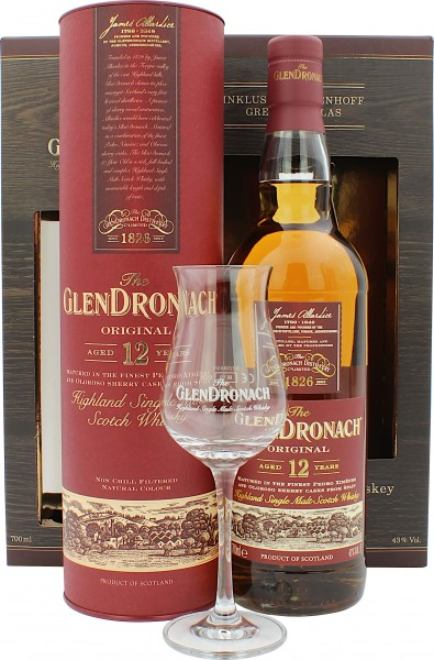 Glendronach 12 Jahre Geschenkset mit Nosing Glas