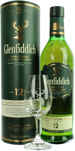 Glenfiddich 12 Jahre mit einem Glenfiddich Nosing Glas 40.0% 0,7l