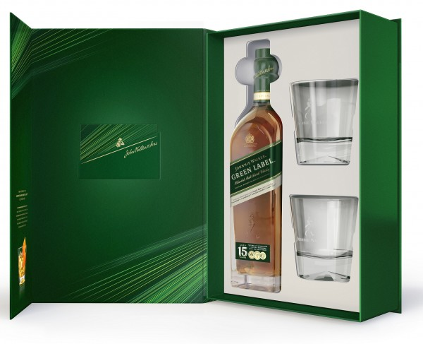 Johnnie Walker Green Label 15 Jahre Geschenkset mit 2 Tumblern