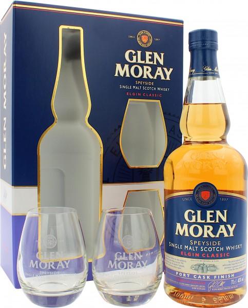 Glen Moray Elgin Port Cask Finish Geschenkset mit 2 Gläsern