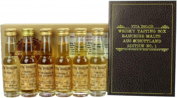 """Whisky Tasting-Box """"Rauchige Malts aus Schottland"""" 45,88% 6x20ml"""